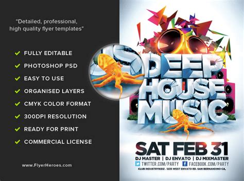 house music flyer deep house music flyer template flyerheroes