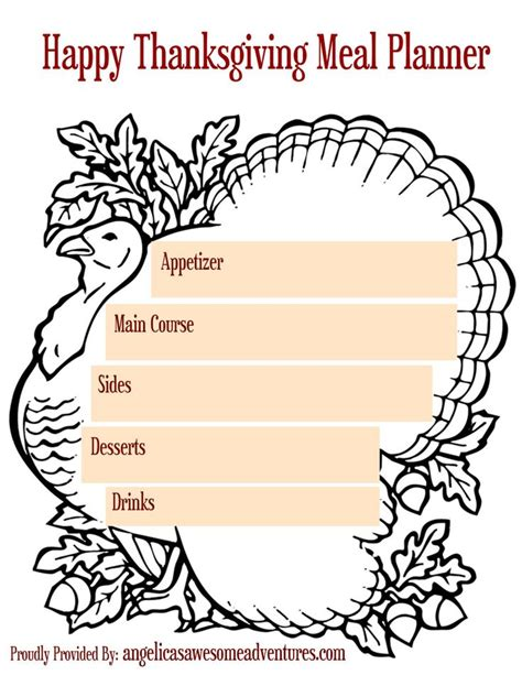 turkey dinner printable 5 printable thanksgiving activities and planners meal