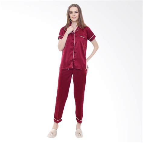 Stelan Celana Panjang Dan Baju Lengan Pendek Hitam Merah jual jfashion silky polos setelan baju tidur tangan pendek dan celana panjang marun