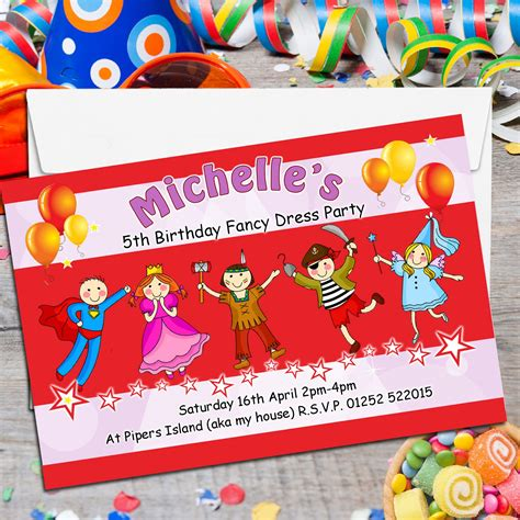 fancy birthday card templates 10 personalised fancy dress birthday invitations n119