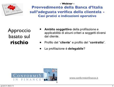 Adeguata Verifica Banca by Webinar Il Provvedimento Della Banca D Italia Sull
