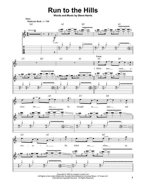 Run To The Hills | Sheet Music Direct
