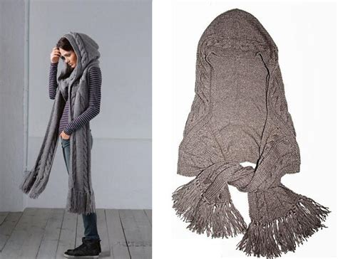 A Beautiful Knit Hooded Scarf Free Pattern Www