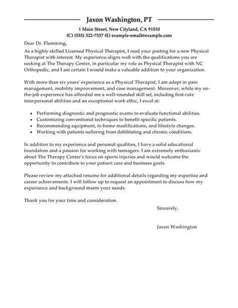 psychotherapist cover letter best physical therapist cover letter exles livecareer