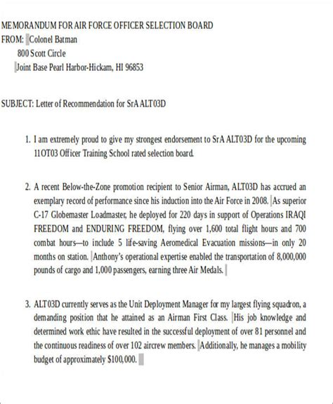 Endorsement Letter Navy Sle Air Letter Of Recommendation 6 Exles In Word Pdf