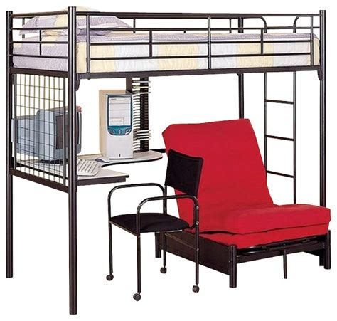 coaster max futon metal bunk bed with desk in