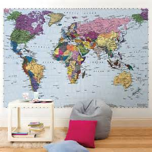 Wall Map Murals World Map Wall Mural 4 050 World Map Photomural