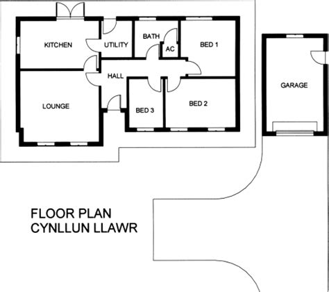 Floorplan House llysdewi 3 bedroom timber frame bungalow with detached garage