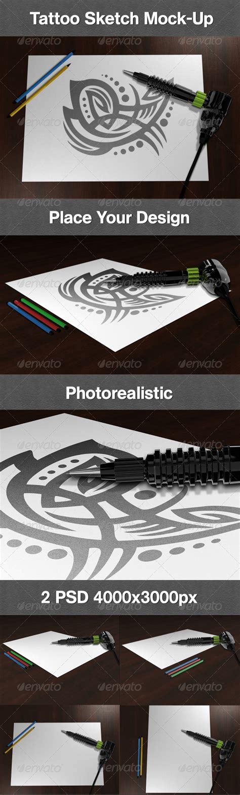 tattoo mock up template tattoo sketch mock up graphicriver