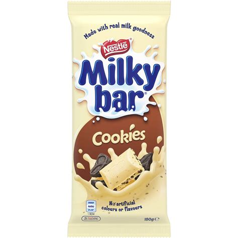 Nestle Bar Milk Cookies 180g nestle milkybar milk cookies 180g block woolworths