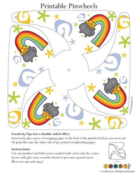 printable crafts pot of gold pinwheel craft woo jr kids activities