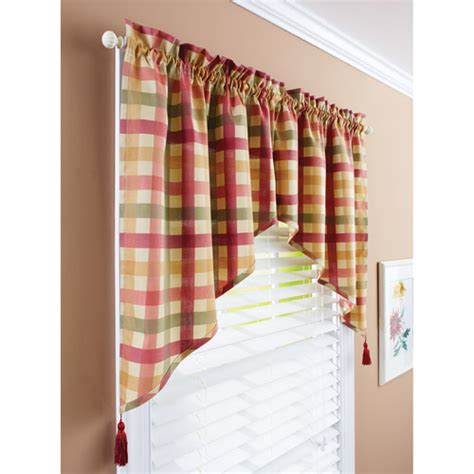 red swag kitchen curtains better homes and gardens red check swag valance walmart com
