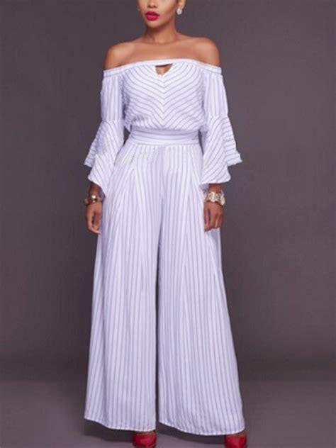 Shoulder Striped Jumpsuit trendy dew shoulder striped white cotton one