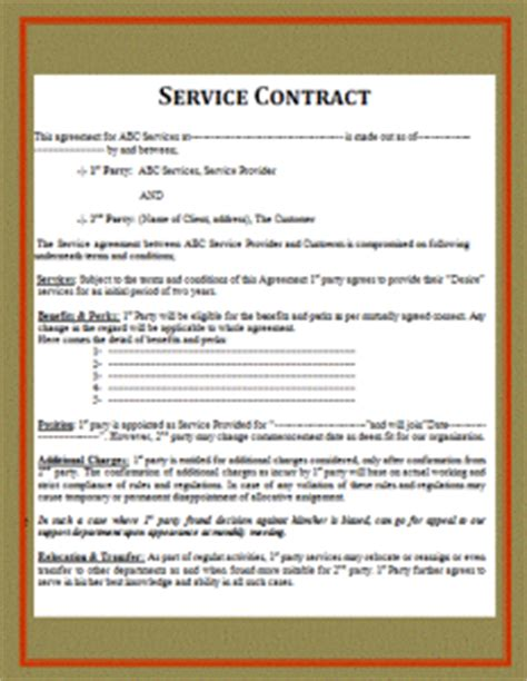 Simple Service Contract Free Word S Templates Simple Service Contract Template