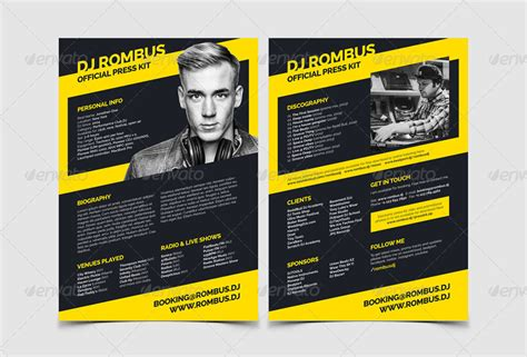 dj press kit template free templates resume exles