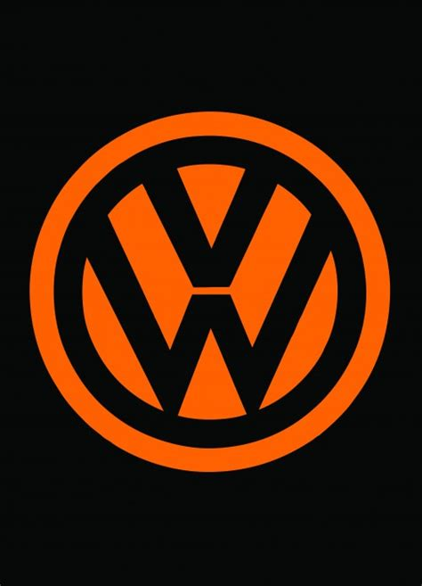 volkswagen logo black and white orange vw logo on black fridge front