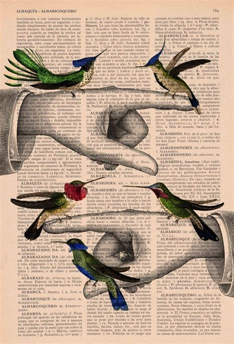 libro birdsong upcycled book print hummingbirds print on vintage book page do want yes please kunst