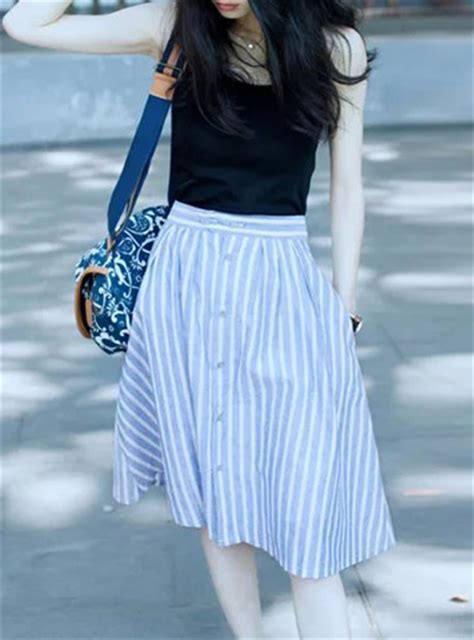 Blue Stripe Skirt By Gaudi black a line denim skirt 2017 dress ala