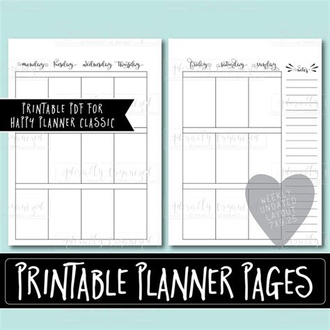 happy planner printable weekly planner refills inserts     monday start create