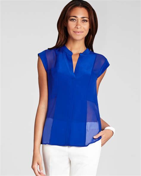 Blouse Blue lyst bcbgmaxazria blouse silk in blue