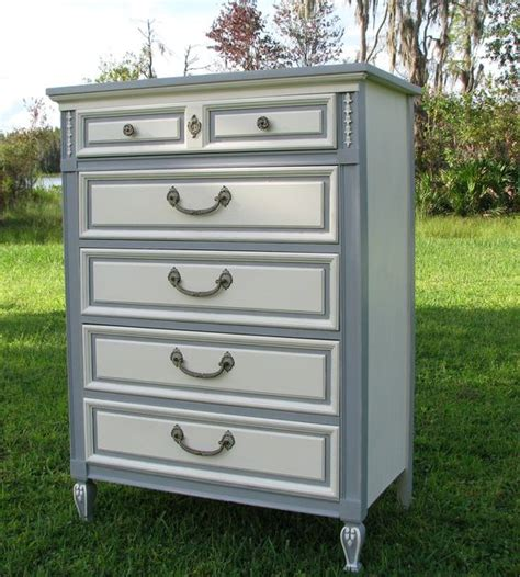 Shabby Chic Dresser Painted Furniture Gray And White Shabby Chic Furniture White
