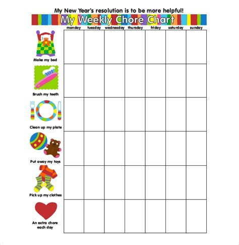 Weekly Chore Chart Template 24 Free Word Excel Pdf Format Download Free Premium Templates Chore Chart Template