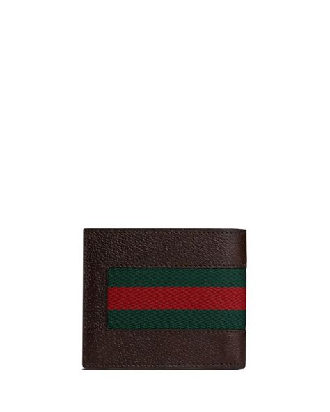 Gucci Color Center Leather Brown gucci web leather bi fold wallet in brown for lyst