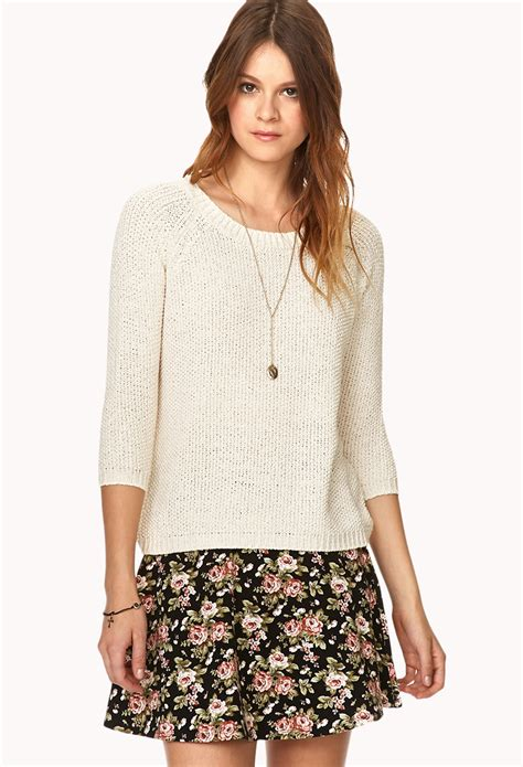 loop knit sweater lyst forever 21 loop knit sweater in