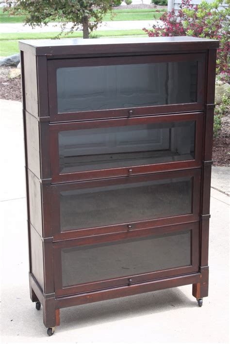 Vintage Bookcase With Glass Doors Barrister Bookcase 4 Stack Vintage Antique Cabinet With Beveled Glass Doors Ebay