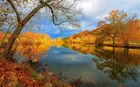 fall landscape autumn reflections desktop wallpaper