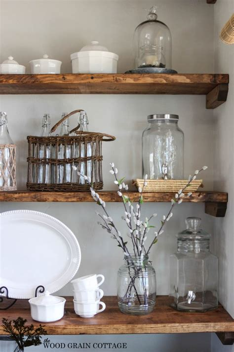 Dining Room Shelves | styled dining room shelving the wood grain cottage