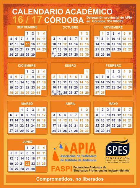 Calendario Escolar Andalucia Cordoba Calendarios Escolares 2016 2017 Asociaci 243 N Apia