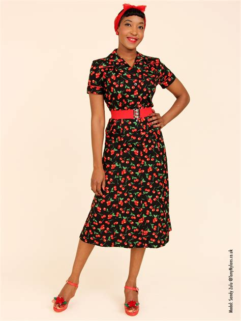 Dres Style 1940s style tea dress cherry black from vivien of holloway