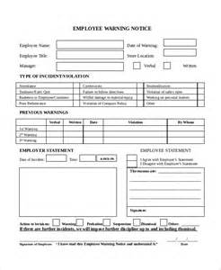 Employee Warning Template by Warning Notice Template 7 Free Word Pdf Document