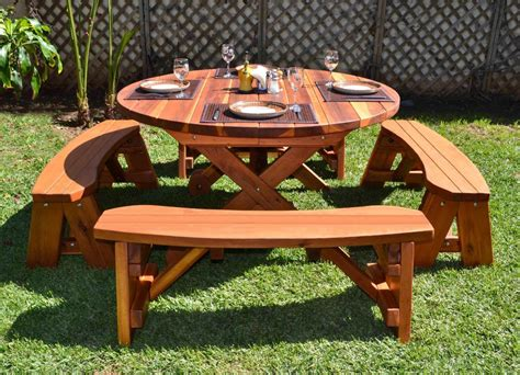 wood picnic table with wheels forever redwood