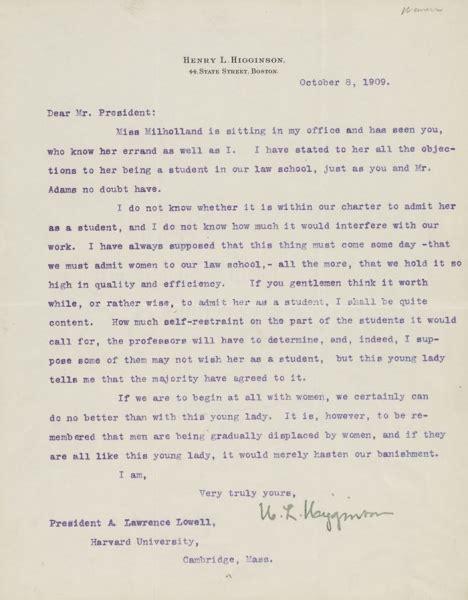 application letter harvard henry higginson expresses his support for inez