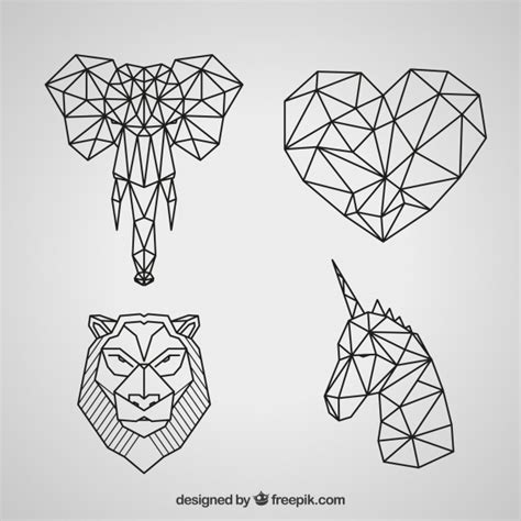 geometric tattoo animal color animals polygons vectors photos and psd files free download