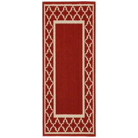 garland rug moroccan frame crimson ivory 2 ft x 5 ft