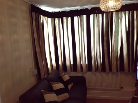 Green Black And Beige Striped Curtains
