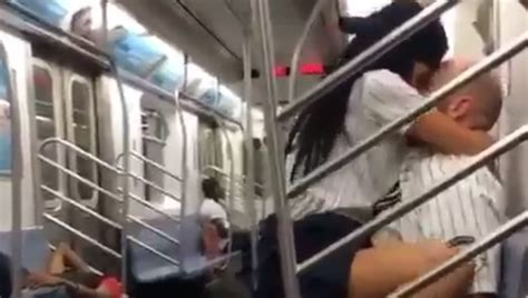 couple caught having sex in bathroom yankees fans caught getting busy on the subway after game