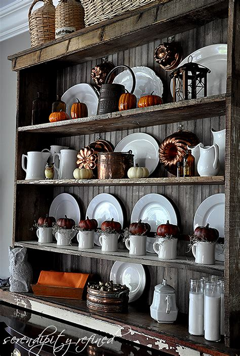 Decorating Top Of Dining Room Hutch Serendipity Refined Pumpkins Ironstone And Copper