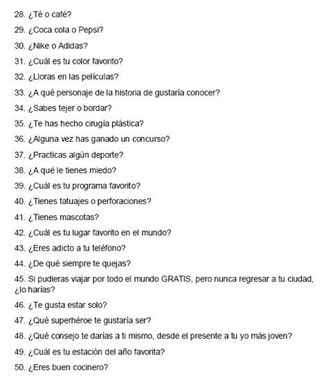 cadenas de preguntas de instagram tag quot 50 preguntas que nadie hizo quot parte 2 2 tags