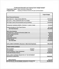 Budget For Grant Proposal Template Grant Budget Template 8 Download Free Document In Pdf