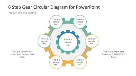 6 steps circular segmented diagram for powerpoint slidemodel 6 step gear diagram design for powerpoint slidemodel