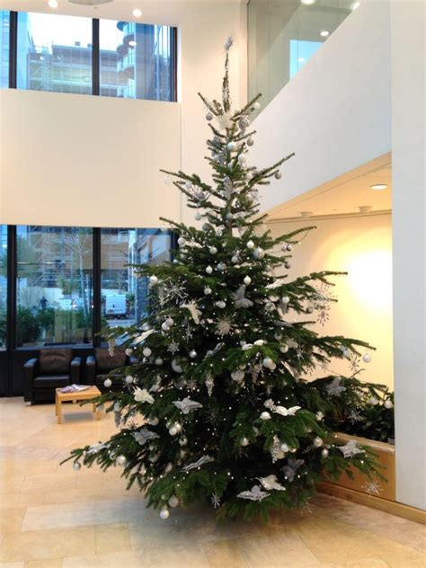 office christmas tree 12ft white and silver flowers by