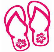Flip Flops With Hibiscus Flowers Decal  All About
