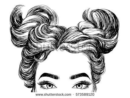 cute hairstyles vector face sketch stock images royalty free images vectors