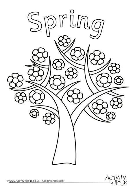 coloring pages of spring trees four seasons