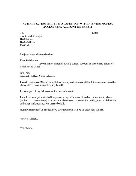 authorization letter for bank withdrawal in india authority letter format to authorize a person best