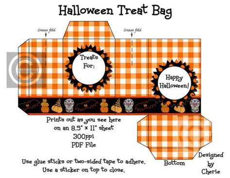 printable paper treats instant download halloween printable treat bag gingham